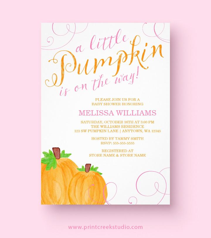 Fall Pumpkin Baby Shower Invitations - Print Creek Studio Inc