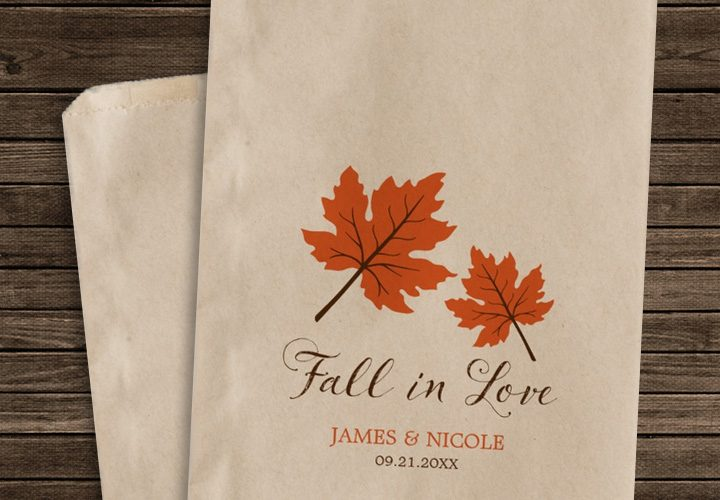 Personalized Fall Wedding Favor Bags