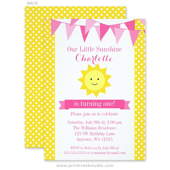 Little sunshine first birthday invitations