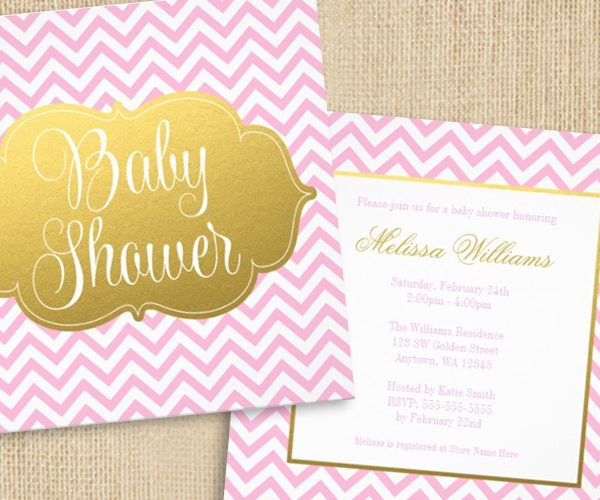 Modern Chevron Gold and Pink Baby Shower Invitations