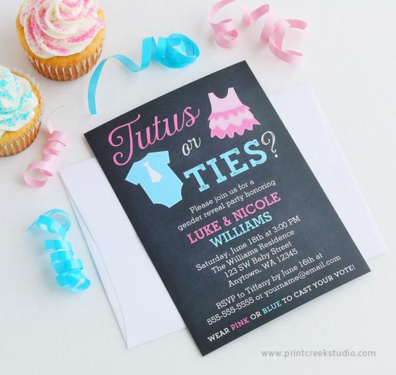 Ties or Tutus Gender Reveal Invitations