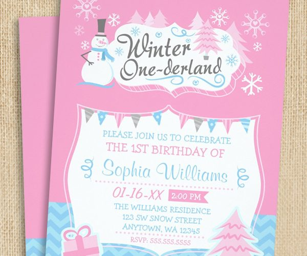 Winter ONEderland Snowman Birthday Invitations