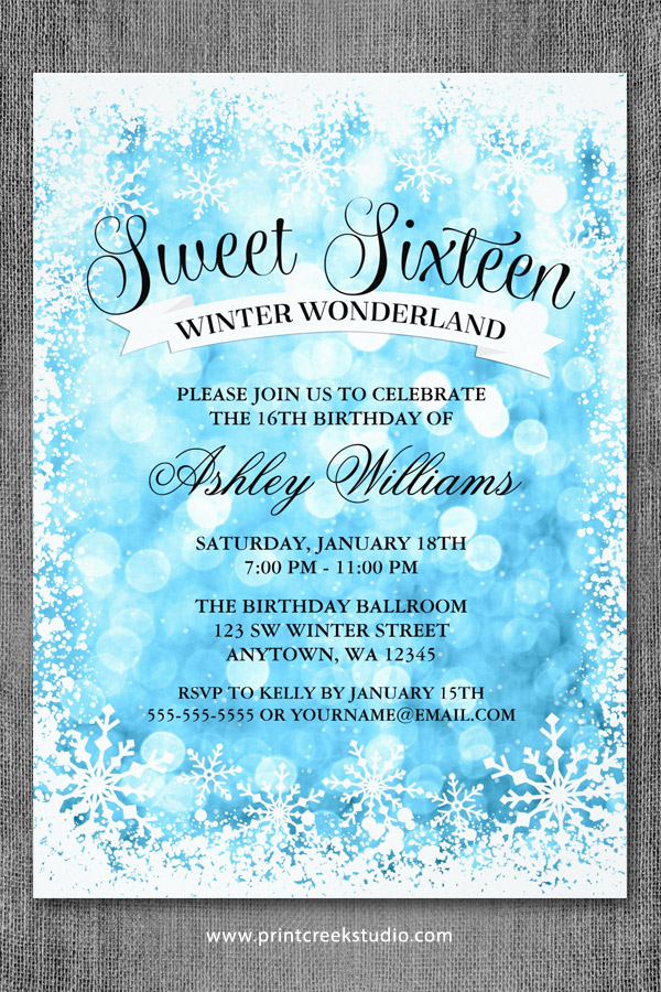 Sweet 16 Winter Wonderland Invitations Blue Glitter Lights