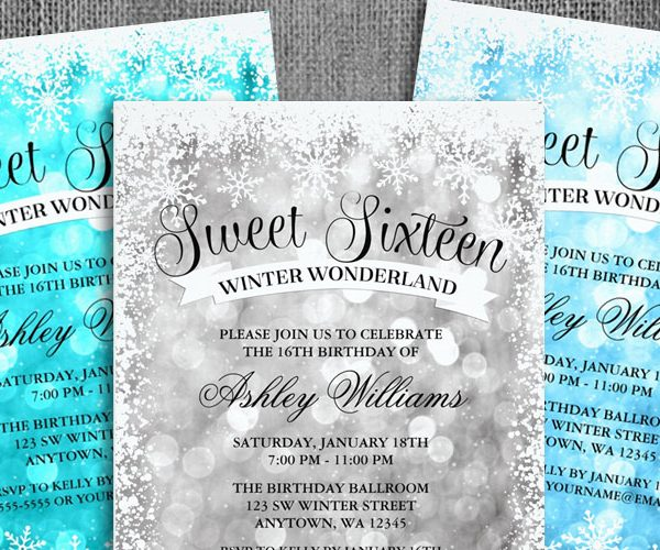 Sweet 16 Winter Wonderland Glitter Lights Invitations