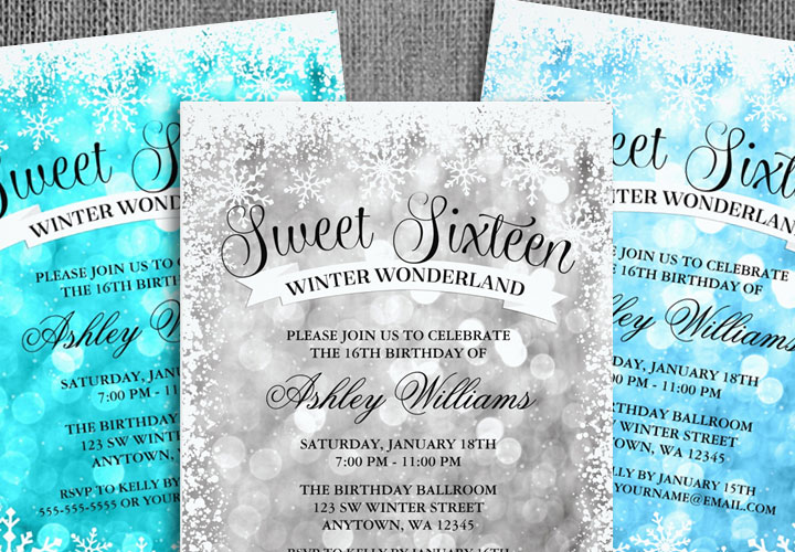 sweet 16 winter wonderland glitter lights invitations print creek