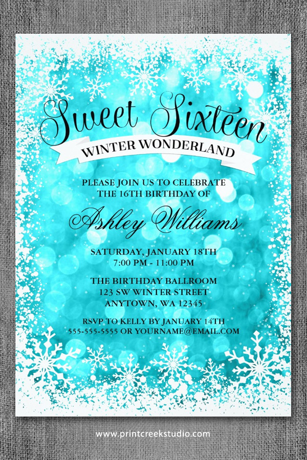 Sweet 16 Winter Wonderland Invitations Teal Glitter Lights