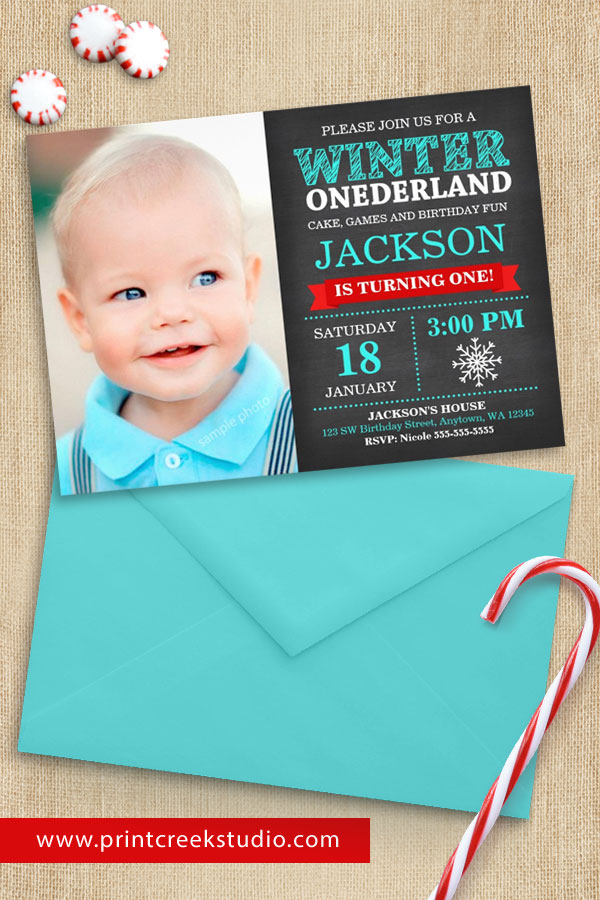 Boy Winter ONEderland First Birthday Invitations