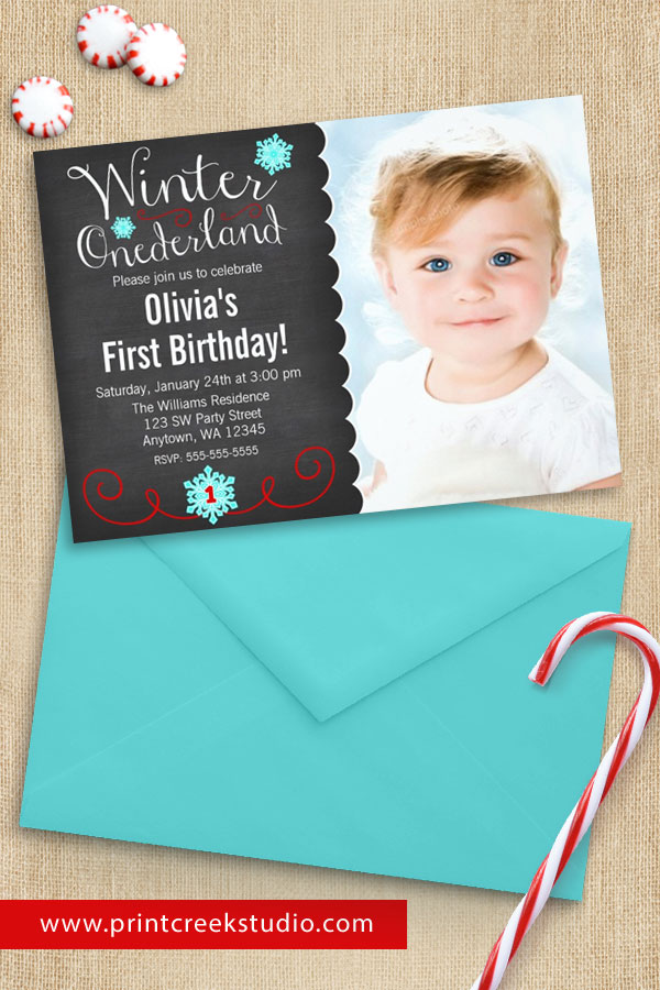 Teal and Red Winter ONEderland Photo Birthday Invitations