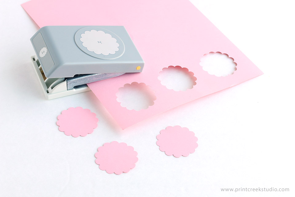 Cupcake topper scallop paper punch