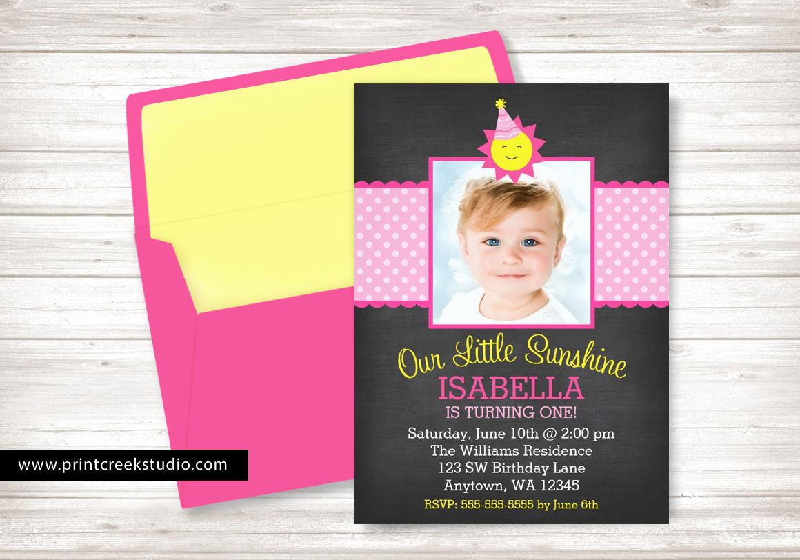 Little sunshine photo birthday invitations