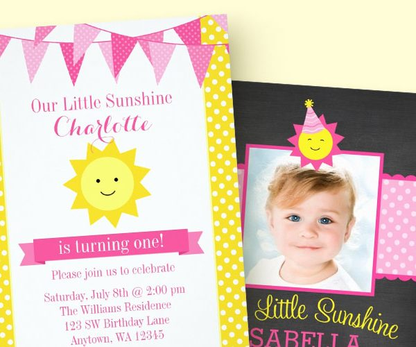 You Are My Sunshine Birthday Invitations