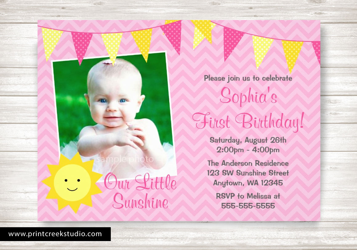 Sunshine first birthday invitations