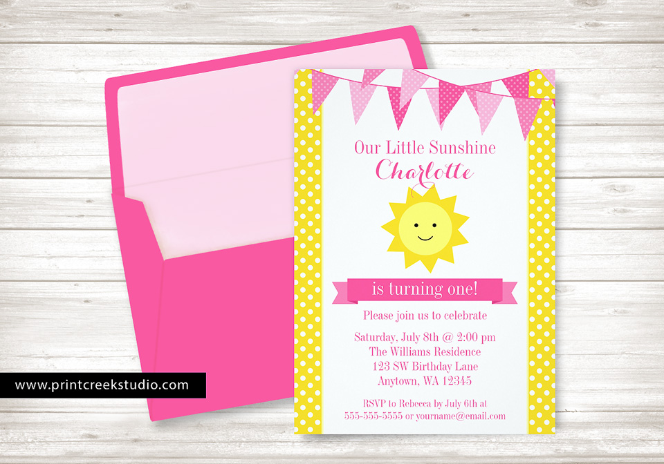 You Are My Sunshine Birthday Invitations Print Creek Studio Inc