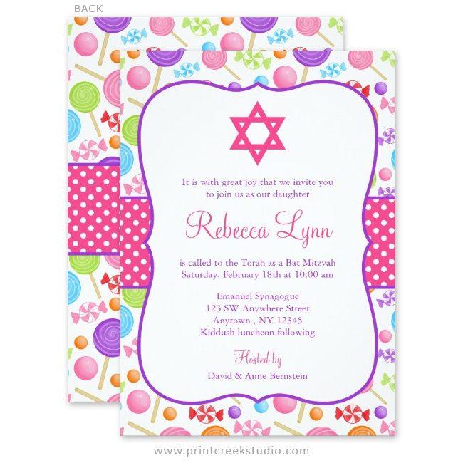 Cute Candy Bat Mitzvah Invitations