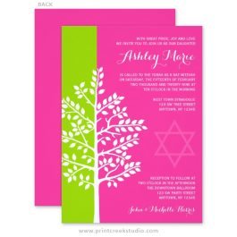 Green and Pink Tree of Life Bat Mitzvah Invitations