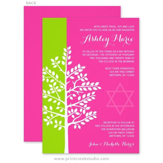 Green and Pink Tree of Life Bat Mitzvah Invitations