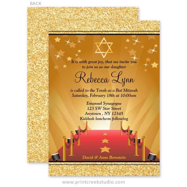 Modern Hollywood Bat Mitzvah Invitations