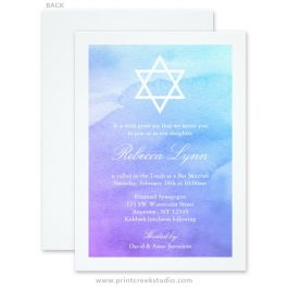 Purple and Teal Watercolor Bat Mitzvah Invitations