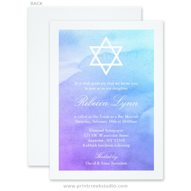 purple and teal watercolor bat mitzvah invitations print creek