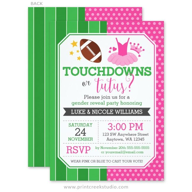 Touchdowns Or Tutus Gender Reveal Party Invitations Print Creek