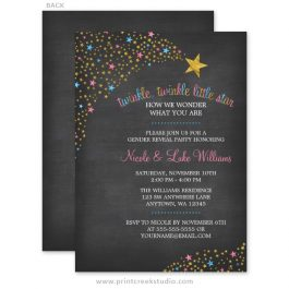Twinkle Twinkle Little Star Gender Reveal Invitations