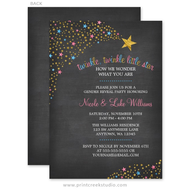 Twinkle Twinkle Little Star Gender Reveal Invitations