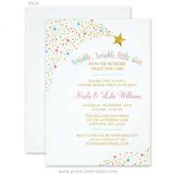 Cute gender reveal party invitations.