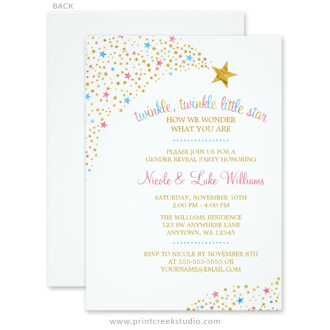 Twinkle Little Star Gender Reveal Invitations Print Creek Studio Inc