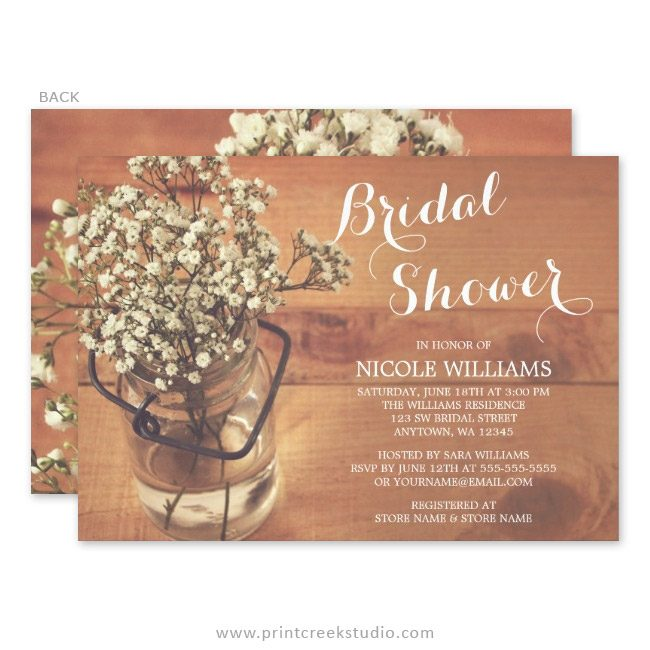Baby's breath floral bridal shower invitations.