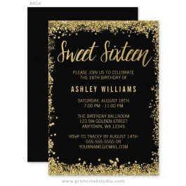 Black and gold sweet sixteen birthday invitations.