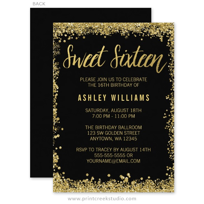 Sweet 16 Black and Gold Glitter Birthday Invitations Print Creek