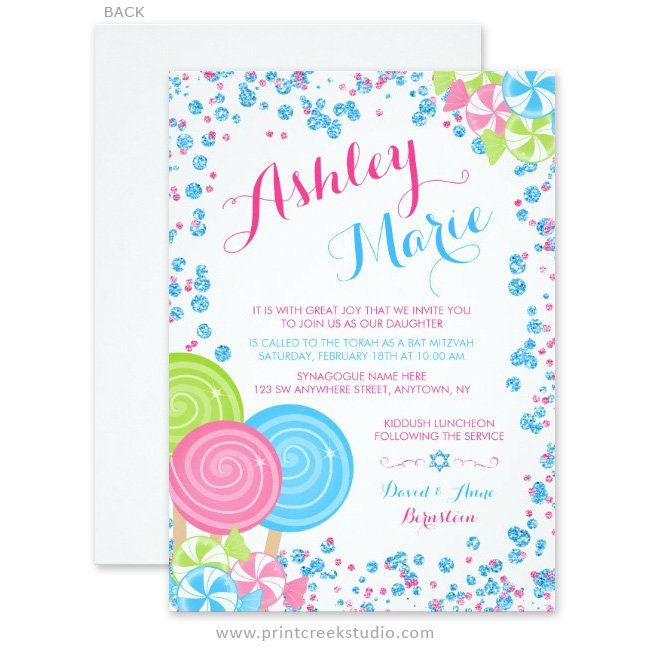 Candy themed Bat Mitzvah invitations