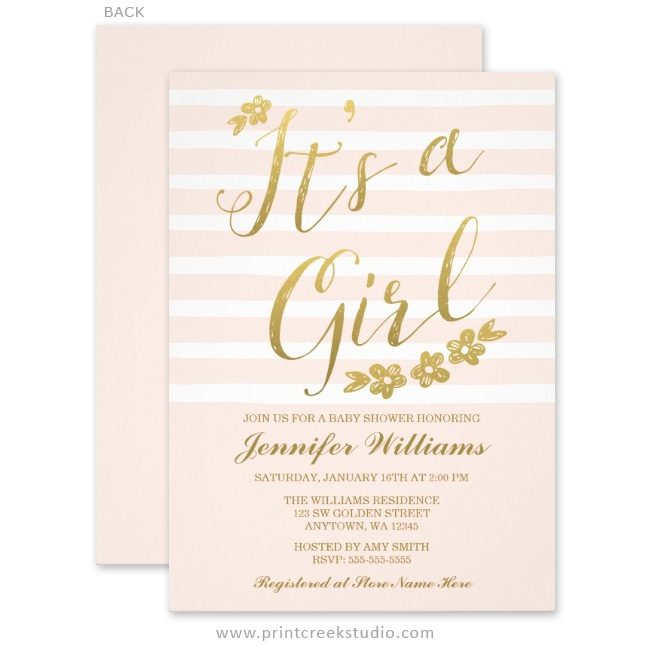 Pink and gold girl baby shower invitations.