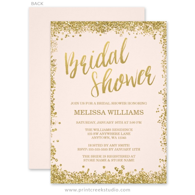 Blush pink gold faux glitter bridal shower invitations print creek modern pink and gold bridal shower invitations filmwisefo