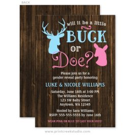 Buck or doe gender reveal invitations.