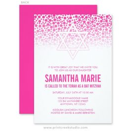 Hot pink Bat Mitzvah invitations