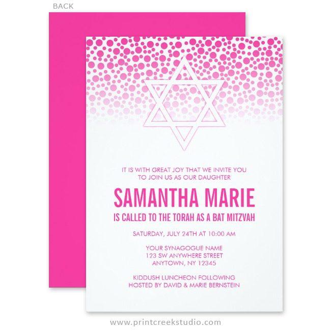 Hot pink Bat Mitzvah invitations