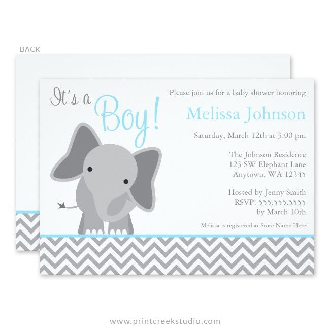 Blue elephant boy baby shower invitations.