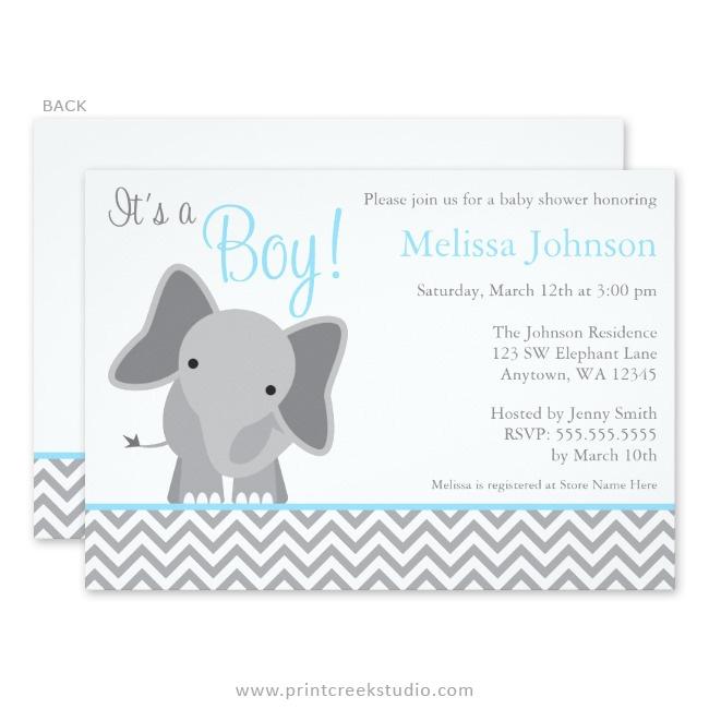 Blue elephant boy baby shower invitations.