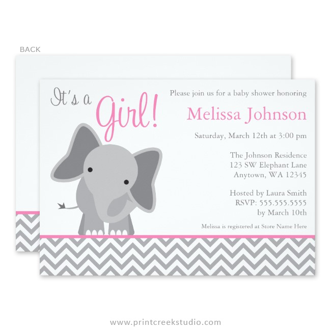 Cute elephant chevron pink baby shower invitations print creek girl elephant baby shower invitations filmwisefo