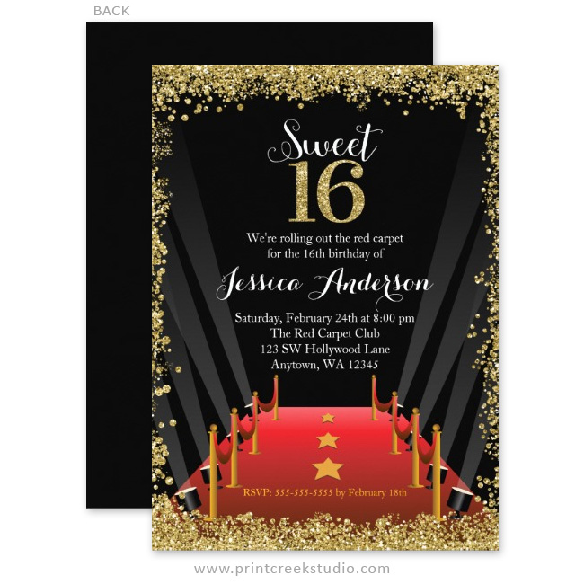 Red Carpet Hollywood Glitter Sweet 16 Birthday Invitations ...