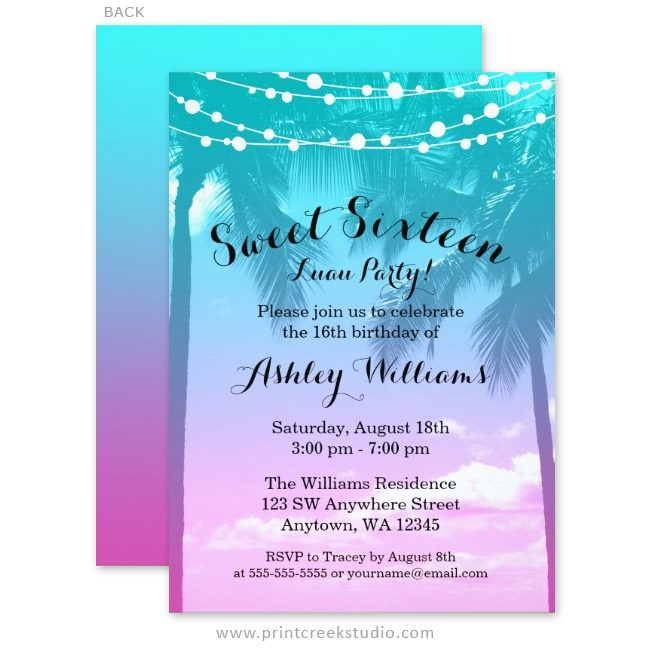 Tropical Luau Teal Pink Sweet 16 Birthday Invitations