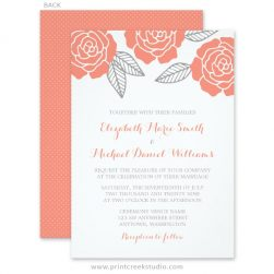 Coral and grey wedding invitations