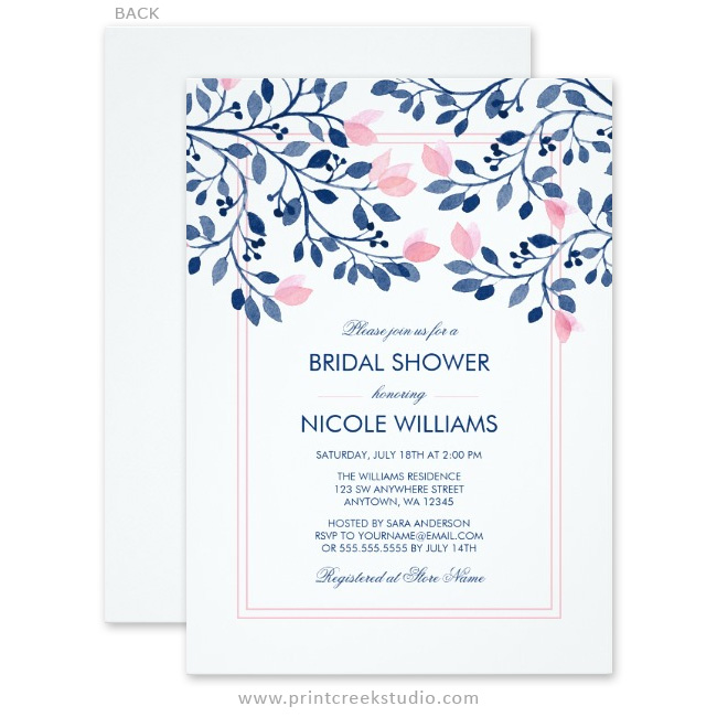navy and blush pink floral watercolor bridal shower invitations