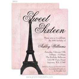 Paris themed sweet 16 invitations.