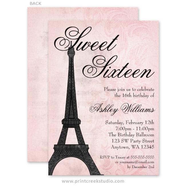 Paris Themed Sweet 16 Invitations