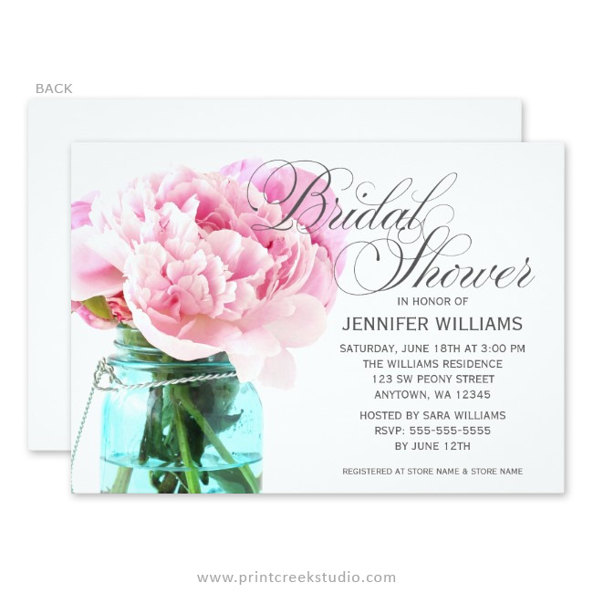 Pink peony mason jar bridal shower invitations print creek studio inc pink peony mason jar bridal shower invitations filmwisefo