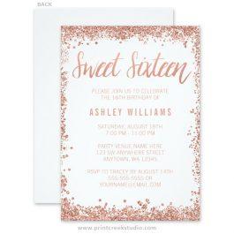 Rose gold glitter sweet 16 invitations.