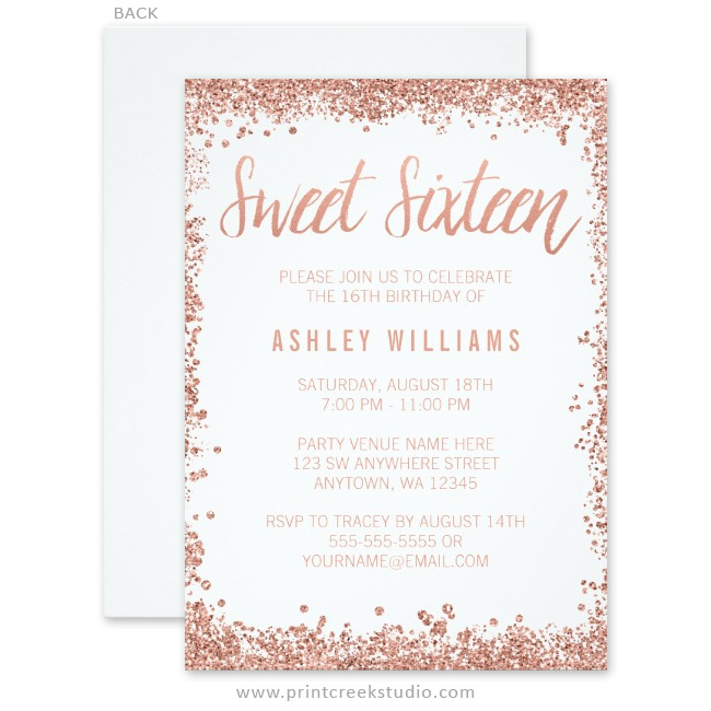 rose gold faux glitter sweet 16 invitations