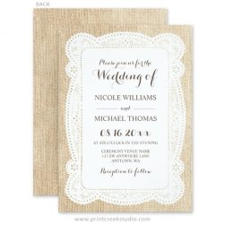 Burlap and lace wedding invitations.